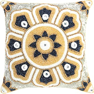 Linen Clubs Floral Design Hand Beaded Decorative Pillow Cover 14'x14'Square Gold, Handmade by Skilled Artisans, A Beautiful and Elegant Accessory to Dress up Your Couch, Sofa or Bed