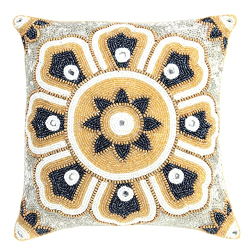 99e66d425149 Linen Clubs Floral Design Hand Beaded Decorative Pillow Cover 14 x14 Square  Gold