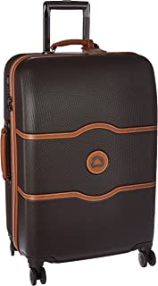 Chatelet Hard+ Hardside Luggage with Spinner Wheels, Chocolate Brown, Checked-Medium 24 Inch