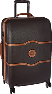 DELSEY Paris Chatelet Hard+ Hardside Medium Checked Spinner Suitcase, Chocolate Brown, 24-Inch