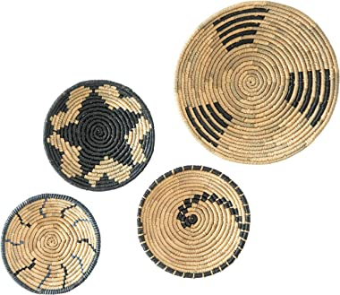 Artera Wicker Wall Basket Decor - Hanging Woven Seagrass Flat Baskets, Round Boho Wall Basket Decor for Living Room or Bedroo