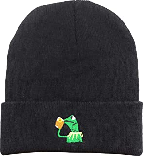 5042a4359c1e95 Winter Kermit The Frog Sipping Tea Beanie Warm Comfortable Soft Oversized  Thick Cable Knitted Hat Unisex