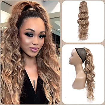 HELLOSH Body wave Clip in Ponytail Extension Long Wavy Drawstring Ponytail Synthetic Hair Extensions Clip in Blond Ponytail for Women 26 Inch (Blond)