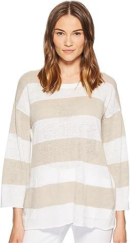 Eileen Fisher Organic Linen Knit Stripe A-line Top