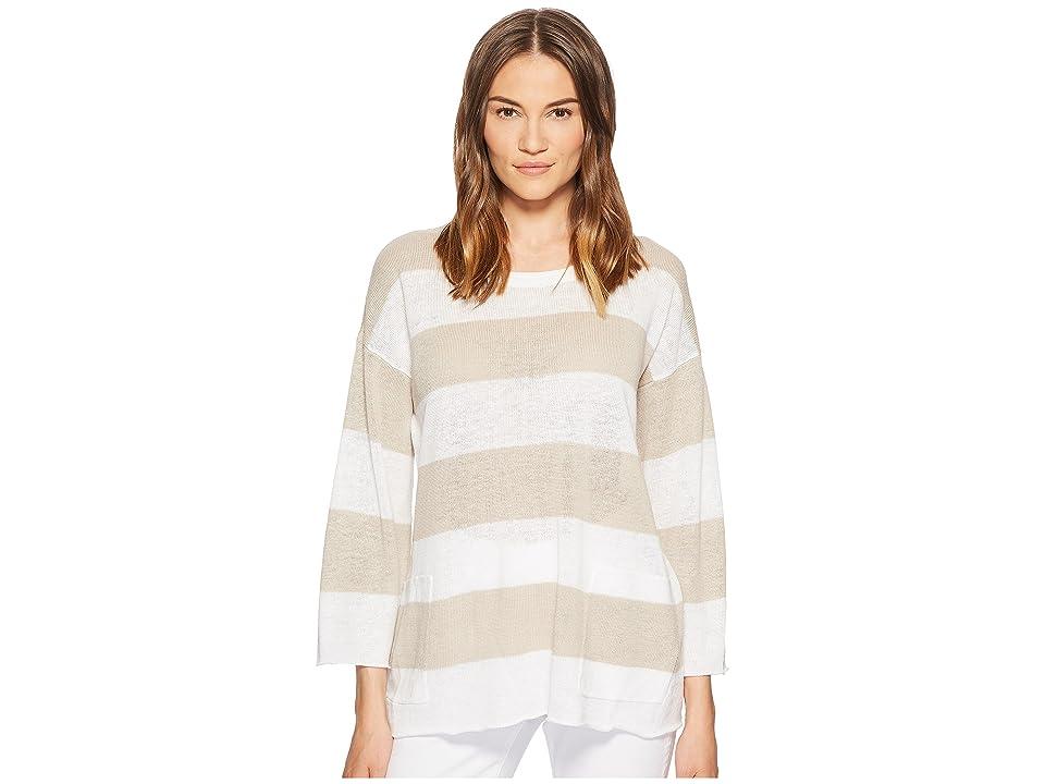 Eileen Fisher Organic Linen Knit Stripe A-line Top (White/Natural) Women