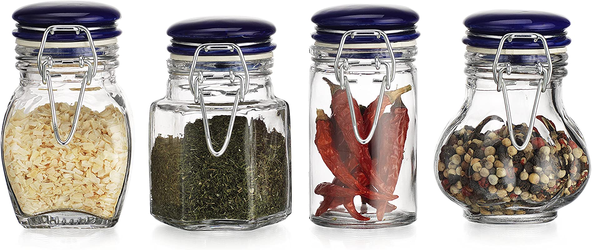 HC Classic Home Quality Airtight Assorted Shape Glass Spice Jar Hermetic Seal Bail Trigger Jar With Lid Set Of 4 Blue