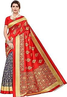 Rensila Fab Women's Art Silk Saree with Blouse Piece (Red)