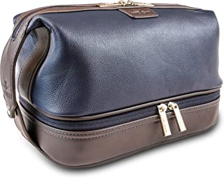 Vetelli Leo Mens Leather Toiletry Bag - Dopp Kit - Lots of Pockets. Plenty of Space. Large Compartments. Durable Design. E...