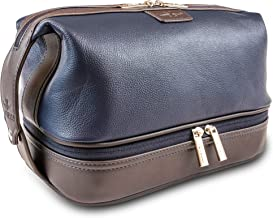 Vetelli Leo Mens Leather Toiletry Bag - Dopp Kit - Lots of Pockets. Plenty of Space. Large Compartments. Durable Design. Easy to Stay Organized When Travelling for Business or Pleasure.