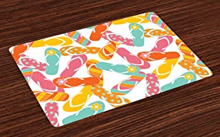 Ambesonne Summer Place Mats Set of 4, Colorful Bunch Flip Flops Sandals Pattern Relax Holiday Sunbath Theme Groovy Graphic, Washable Fabric Placemats for Dining Room Kitchen Table Decor, Yellow Pink