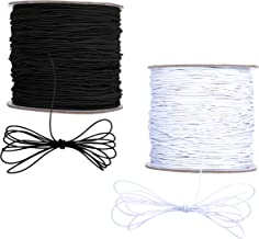 100m Elastic Cord Beading Thread Stretch String Craft Cord for Jewelry Bracelet Making, 1mm (White and Black)