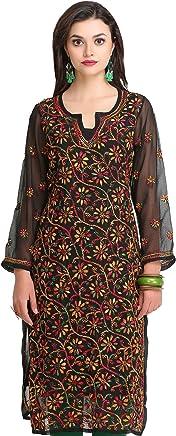 ADA Women's Georgette Embroidered Chikankari Straight Kurti