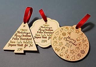 Set di 3 decorazioni in legno per natale