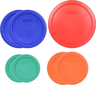 Pyrex (1) 7402-PC 6/7 Cup Red (2) 7201-PC 4 Cup Cobalt Blue (2) 7200-PC 2 Cup Orange (2) 7202-PC 1 Cup Green Food Storage Lids - 7 Pack
