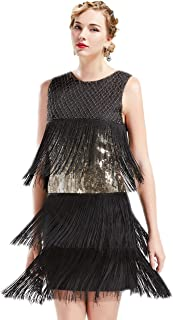 ArtiDeco 1920s Charleston Kleid Damen Knielang Cocotail Party Kleid 20er Jahre Flapper Damen Gatsby Kostüm Kleid