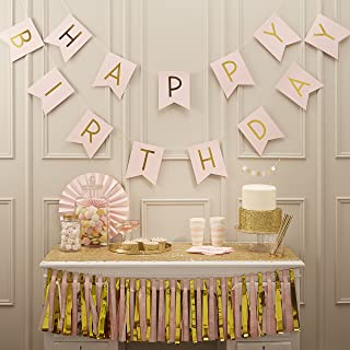 Ginger Ray Pastel Pink and Gold Foiled Happy Birthday Bunting Banner - Pastel Perfection