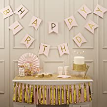 Ginger Ray Pastel Perfection and Gold Foiled Happy Birthday Bunting Banner, Pink, Hanging Bunting Banner