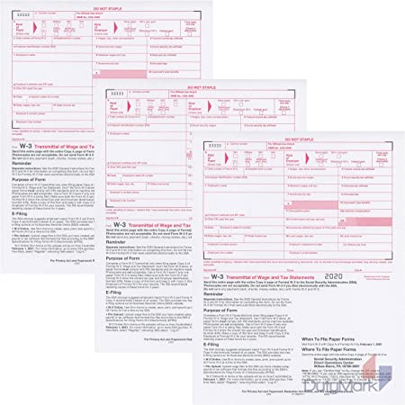 IRS Approved ~Pack of 25~ W-3 Laser Tax Summary//Transmittal Form 2019