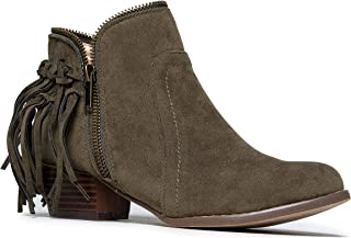 Bailey Fringe Boot - Closed Toe Low Heel Western Cowboy Ankle Bootie