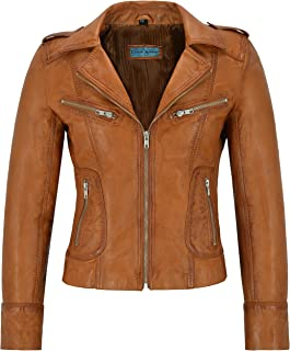 Carrie CH Hoxton Señoras Chaqueta de Cuero Real 100% de Piel de Cordero de Moda Casual Motocicleta Estilo de Motocicleta 9823