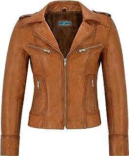Smart Range Ladies Real Leather Jacket Tan Napa Biker Motorcycle Style 9823