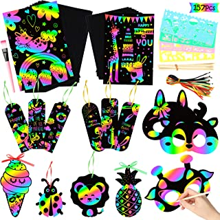 WATINC 157Pcs Scratch Paper Art Set for Kids, Magic Rainbow Color Paper DIY Crafts Kit for Kids Party Favors, Scratch Off Notes Boards Arts and Crafts Supplies, Birthday Gift Tags for Boys Girls