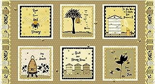 Studio E Fabrics Bee A Keeper 24'' Repeat Block Print Panel Gold/Black Fabric,