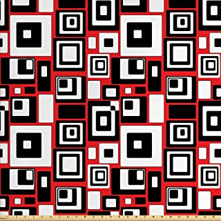 Ambesonne Abstract Fabric by The Yard, Minimalist Geometric Retro Rectangle Forms Nostalgia Art Print, Decorative Fabric for Upholstery and Home Accents, 1 Yard, Red Black