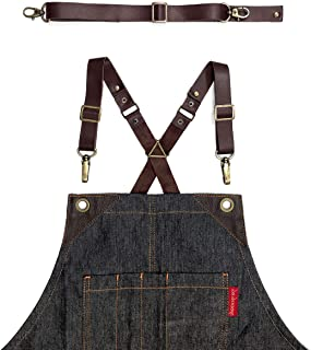 Under NY Sky Full Grain Brown Leather Strap Set for Cross-Back Aprons – Stylish Straps with Metal Hardware for Chef, Barber, Bartender, Barista, Tattoo Artist, Mechanic – Adjustable for Men and Women
