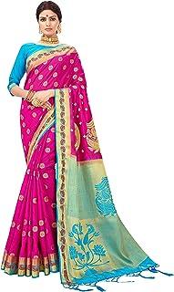 Sarees for Women Banarasi Art Silk Saree l Indian Ethnic Wedding Diwali Gift Sari with Unstitched Blouse