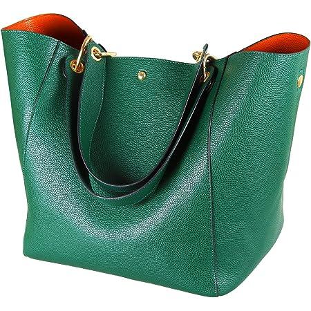 SQLP Shopper Damen Groß Leder Taschen Henkeltaschen für Damen Schultertaschen Weich Umhängetasche Student Schultasche Arbeit Handtaschen-Grün