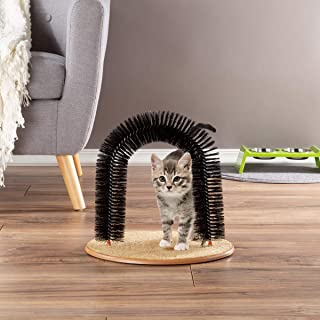 PETMAKER Self Grooming Cat Arch- Bristle Ring Brush and Carpet Base Groomer,  Massager,  Scratcher for Controlling Shedding,  Healthy Fur and Claws