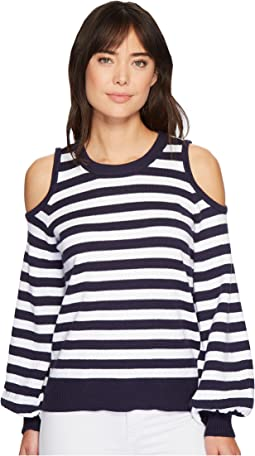 MICHAEL Michael Kors Striped Cold Shoulder Sweater