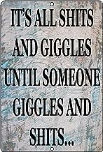 Rogue River Tactical Funny Sh%TS and Giggles Metal Tin Sign Wall Decor Man Cave Bar