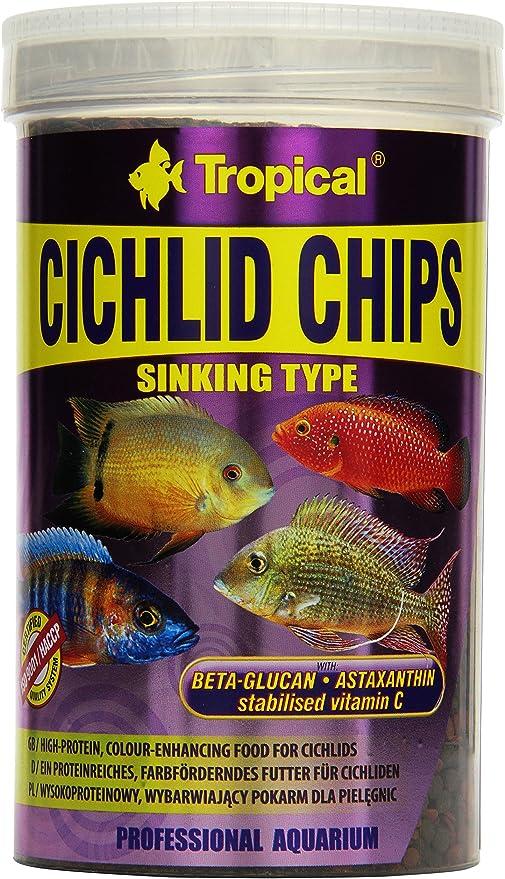 Cichlid Chips 1000ml/520g Altas proteínas, Color-Mejorar la ...