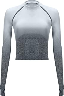 Ombre Seamless Crop Top Long Sleeve Layer Crew Neck Power Stretch Gym Yoga Crop Top with Thumbholes