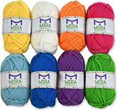 Mira Handcrafts 8 Acrylic Yarn Skeins | Total of 525 Yards Craft Yarn | Includes 2 Crochet Hooks, 2 Weaving Needles, 7 E-B...