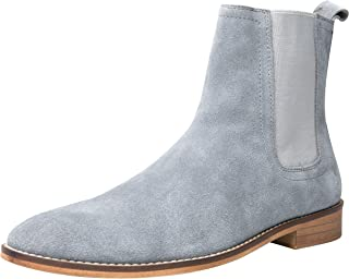 Chelsea Boots Men Suede Casual Dress Boots Ankle Boots Formal Shoes Black Brown Grey