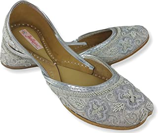 Fulkari Women's Soft Leather Bite and Pinch Free Flower Zari Women's Flat Jutti Ethnic Shoe