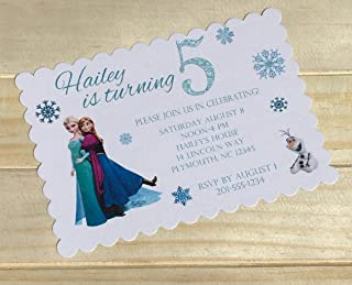 Set Of 10 Girls Birthday Party Invitations Frozen Elsa Anna And Olaf