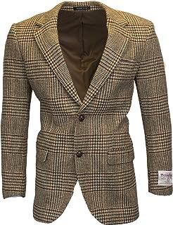 Walker & Hawkes - Mens Classic Scottish Harris Tweed Overcheck Country Blazer Jacket - Desert Tan - 38-48