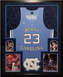 Michael Jordan North Carolina Tar Heels Signed Autograph Authentic Nike Custom FRAMED Jersey Suede Matted Upper Deck Certified