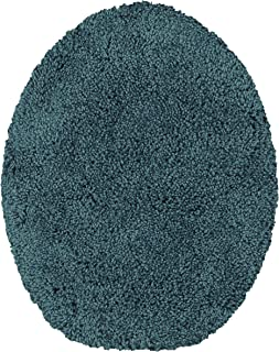 Maples Rugs Soft Washable Elongated Seat Rug [Made in USA] Non Slip & Quick Dry for Bathroom, Teal