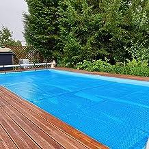 Cobertor solar para piscinas Cubierta de Manta Solar Rectangular, Bloqueador Solar Azul Protección UV Alfombrilla para El Polvo de la Piscina para Verano Invierno, 400μm Película de Piscinas Solares F