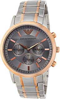 Emporio Armani Men's Dress Watch Quartz Stainless-Steel Strap, Silver, 13 (Model: AR11077)