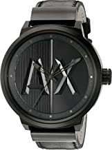 AX Men's Black Leather Watch AX1366