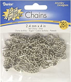 Darice Nickel Plated Ball Chain, 2.4mm by 4-Inch (1881-25)