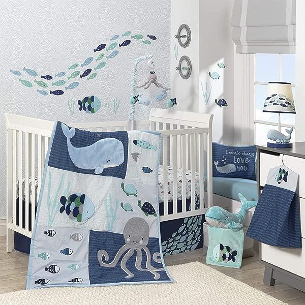Lambs Ivy Oceania 6 Piece Baby Crib Bedding Set Blue Ocean Nautical Aquatic Whale Octopus Theme