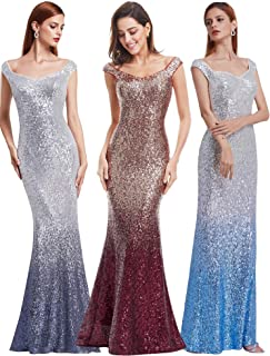 03d2e211d9f Ever-Pretty Women Sparkling Gradual Champagne Gold Sequin Mermaid Cap  Sleeves Evening Dress Prom Dress
