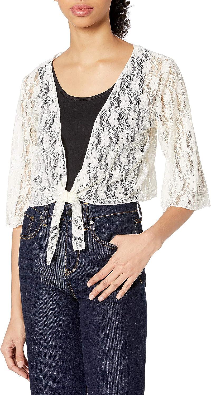 Star Vixen Women's Plus-Size 3/4 Sleeve Tiefront Shrug